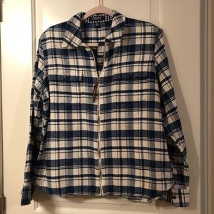 Chaps zip up flannel shirt